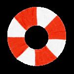 クレヨン風のかわいい赤い浮き輪のかき氷フリーイラスト