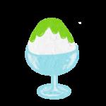 クレヨン風のかわいいメロン味のかき氷フリーイラスト