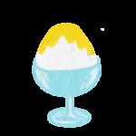 クレヨン風のかわいいレモン味のかき氷フリーイラスト