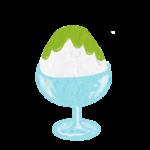 クレヨン風のかわいい抹茶味のかき氷フリーイラスト