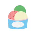 クレヨン風のかわいいカップアイストッピングのフリーイラスト