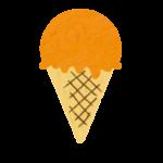 クレヨン風のかわいいオレンジ味コーンアイスのイラスト