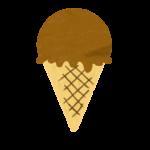 クレヨン風のかわいいチョココーンアイスのイラスト