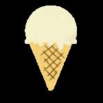 クレヨン風のかわいいバニラ味のコーンアイスのイラスト