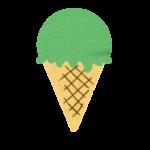 クレヨン風のかわいい抹茶味・メロン味のコーンアイスのイラスト