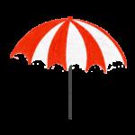 クレヨン風のかわいい赤いパラソル・傘のイラスト