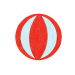 クレヨン風の赤いビーチボールのイラスト