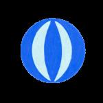 クレヨン風の青いビーチボールのイラスト