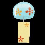 クレヨン風のかわいい花柄の風鈴のフリーイラスト