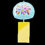 クレヨン風のかわいい花火柄の風鈴のフリーイラスト