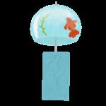 クレヨン風のかわいい金魚柄の風鈴のフリーイラスト商用利用可能