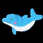 クレヨン風のかわいいイルカのイラスト