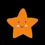 クレヨン風のオレンジのかわいいヒトデ・星のイラスト