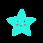クレヨン風のかわいい黄緑のヒトデ・星のイラスト