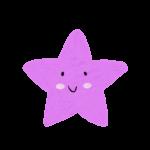 クレヨン風のかわいいヒトデ・星のイラスト