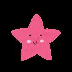 クレヨン風のかわいい赤いヒトデ・星のイラスト