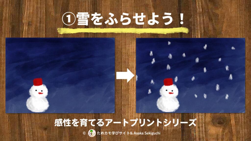 感性を育てるアートプリントシリーズ『①雪をふらせよう』